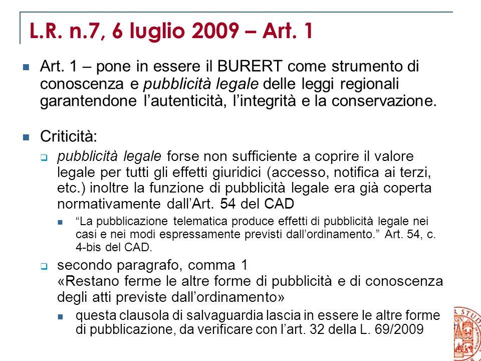 L.R. n.7, 6 luglio 2009 – Art. 1