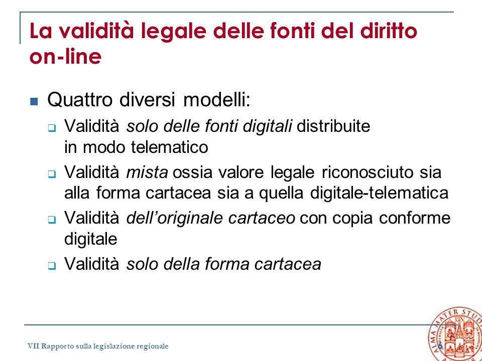 La validità legale delle fonti del diritto on-line
