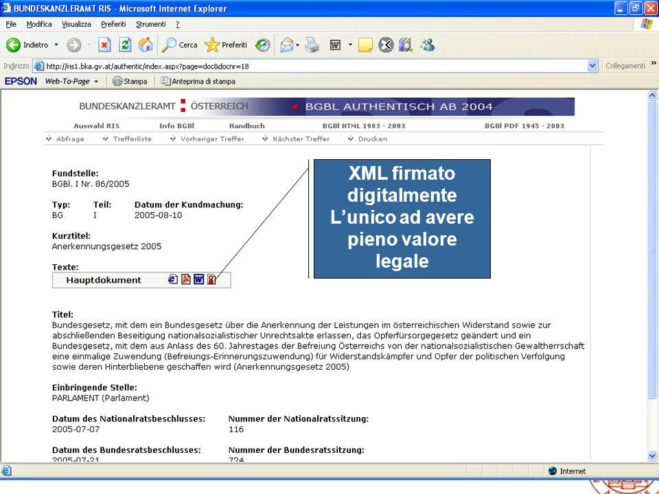 XML firmato digitalmente L'unico ad avere pieno valore legale