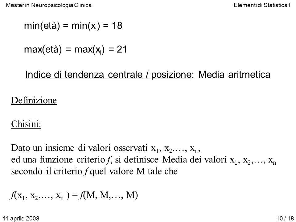 Indice di tendenza centrale / posizione: Media aritmetica