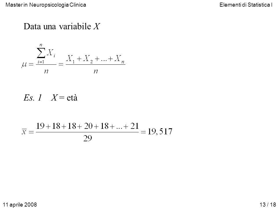 Data una variabile X Es. 1 X = età 11 aprile 2008
