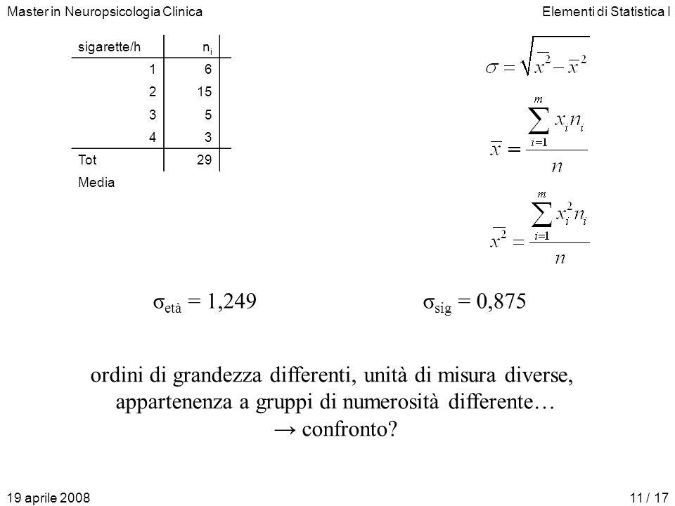 ordini di grandezza differenti, unità di misura diverse,