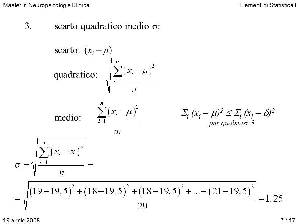 scarto quadratico medio σ: scarto: (xi – μ)