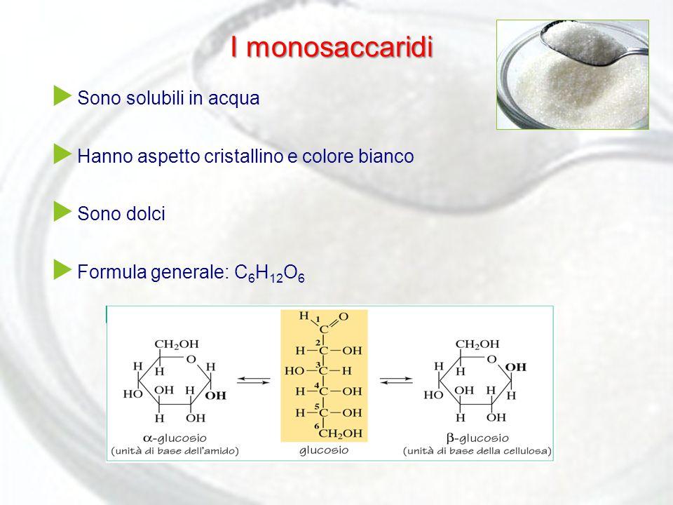 I monosaccaridi Sono solubili in acqua