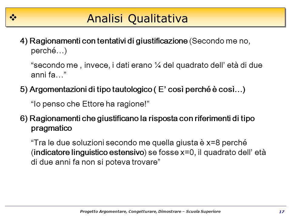 Analisi Qualitativa 4) Ragionamenti con tentativi di giustificazione (Secondo me no, perché…)