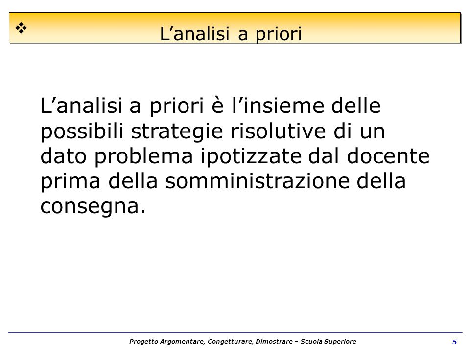 L'analisi a priori