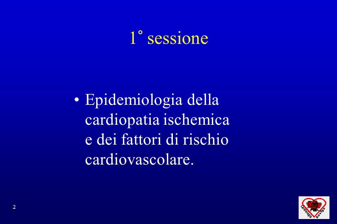 1° sessione Epidemiologia della cardiopatia ischemica e dei fattori di rischio cardiovascolare.
