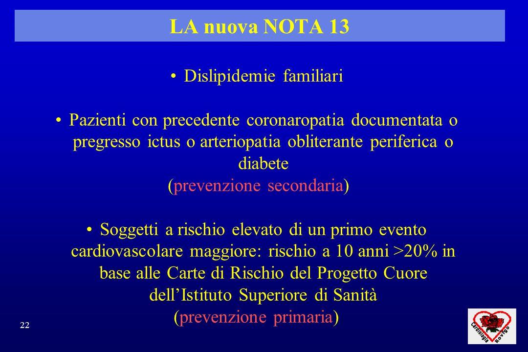LA nuova NOTA 13 Dislipidemie familiari