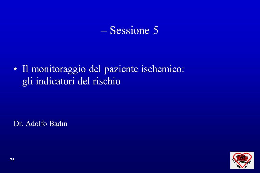 – Sessione 5 Il monitoraggio del paziente ischemico: gli indicatori del rischio Dr. Adolfo Badin