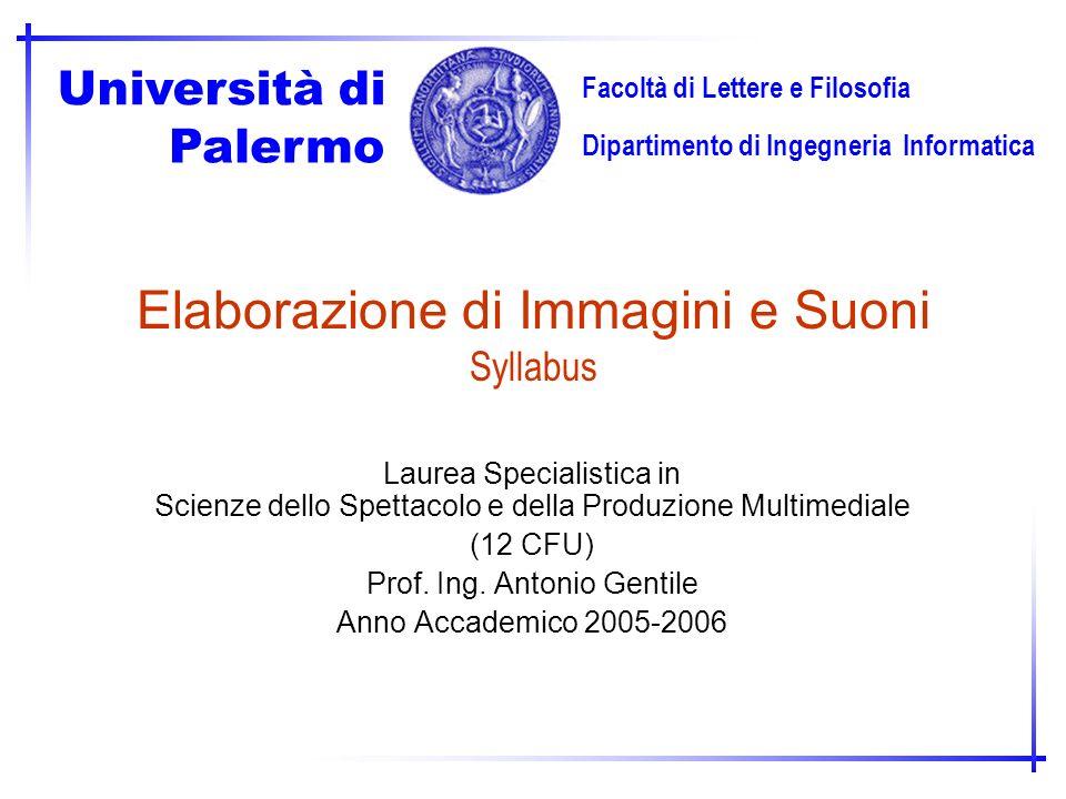 Elaborazione di Immagini e Suoni Syllabus