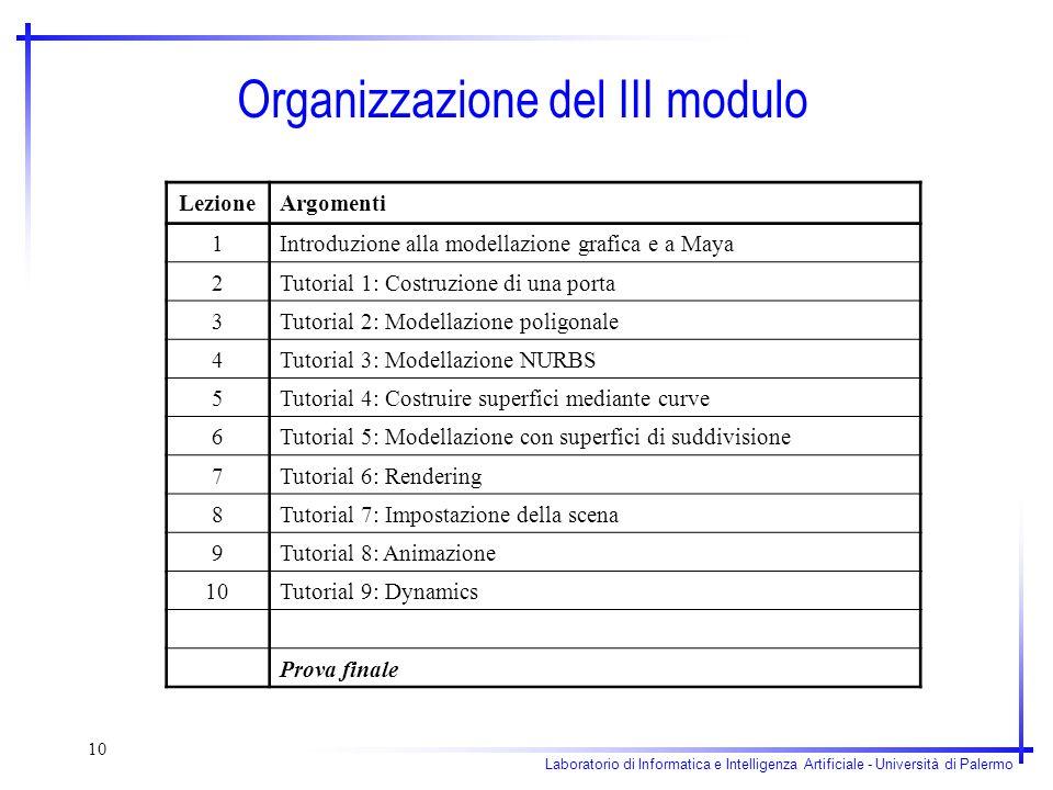 Organizzazione del III modulo