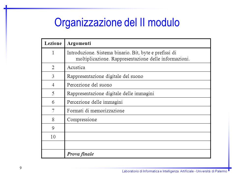 Organizzazione del II modulo