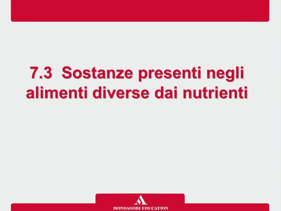 7.3 Sostanze presenti negli alimenti diverse dai nutrienti