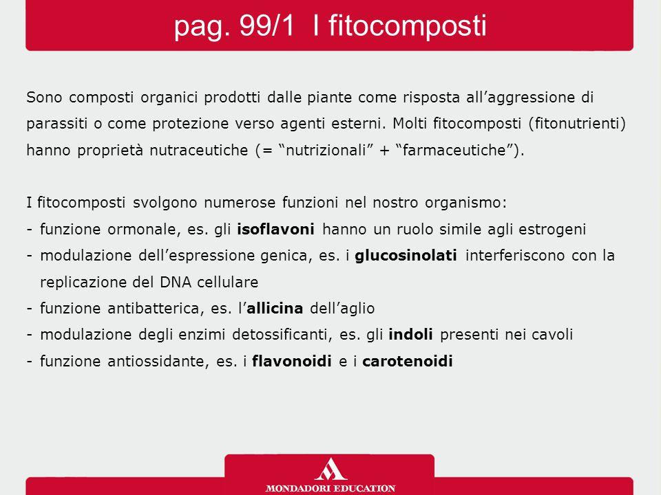 pag. 99/1 I fitocomposti Sono composti organici prodotti dalle piante come risposta all'aggressione di.