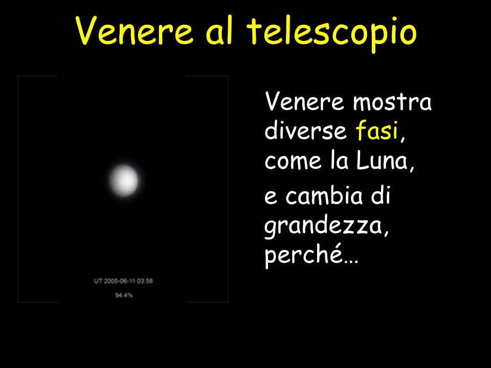 Venere al telescopio Venere mostra diverse fasi, come la Luna,