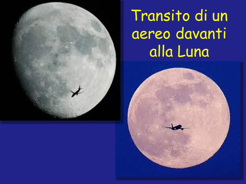 Transito di un aereo davanti alla Luna