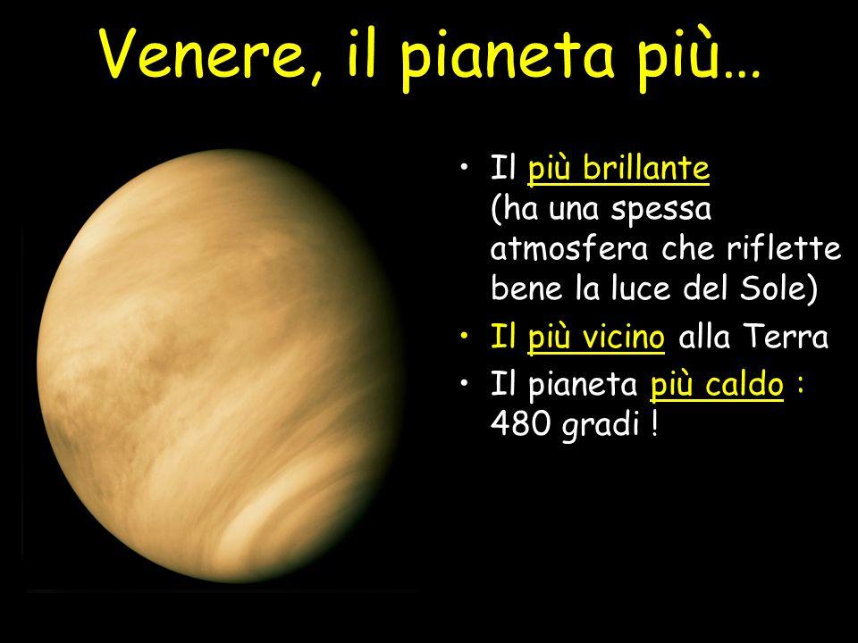 Venere, il pianeta più… Il più brillante (ha una spessa atmosfera che riflette bene la luce del Sole)