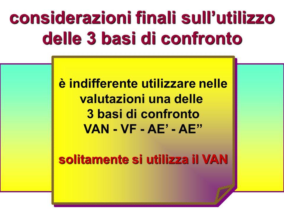 considerazioni finali sull'utilizzo delle 3 basi di confronto