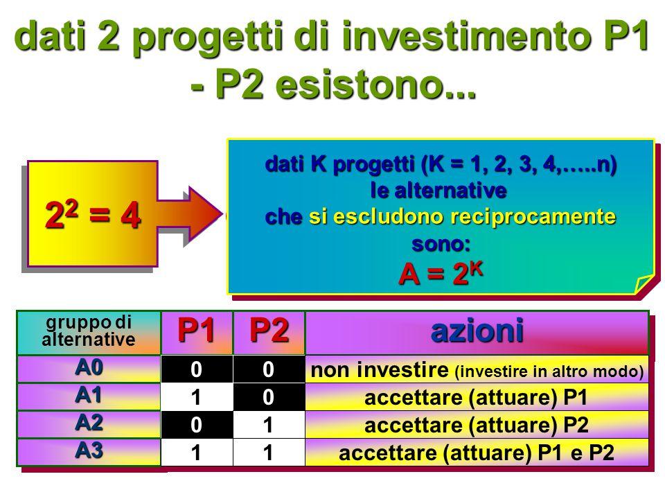 dati 2 progetti di investimento P1 - P2 esistono...
