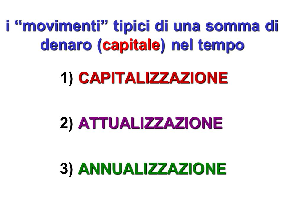 i movimenti tipici di una somma di denaro (capitale) nel tempo