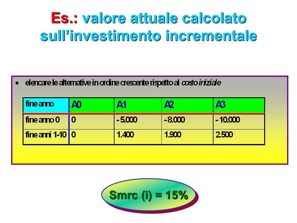 Es.: valore attuale calcolato sull'investimento incrementale