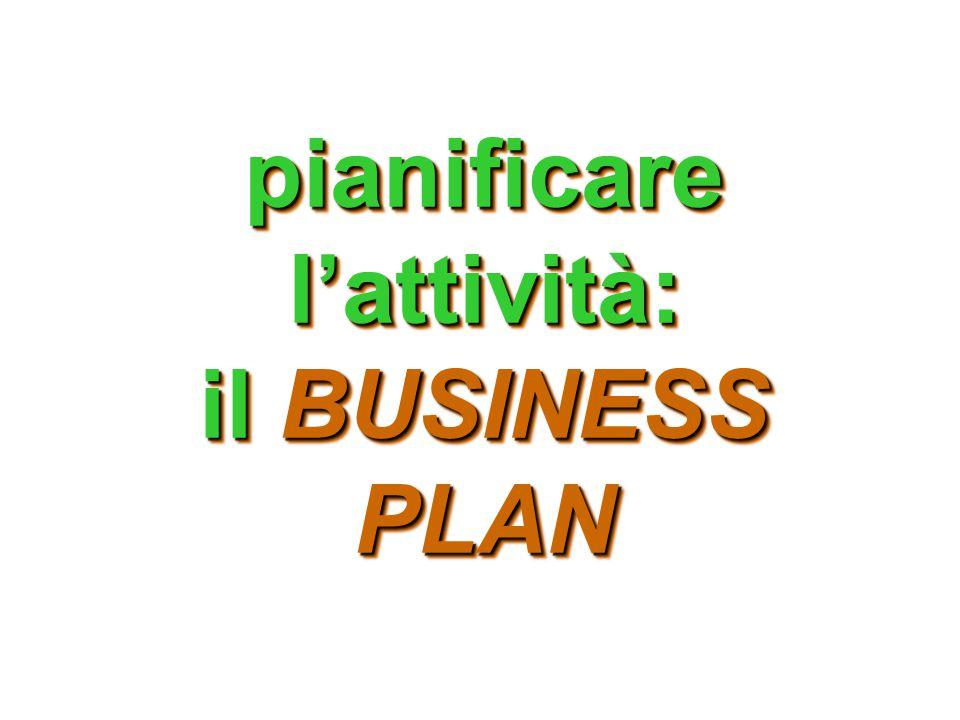 pianificare l'attività: il BUSINESS PLAN