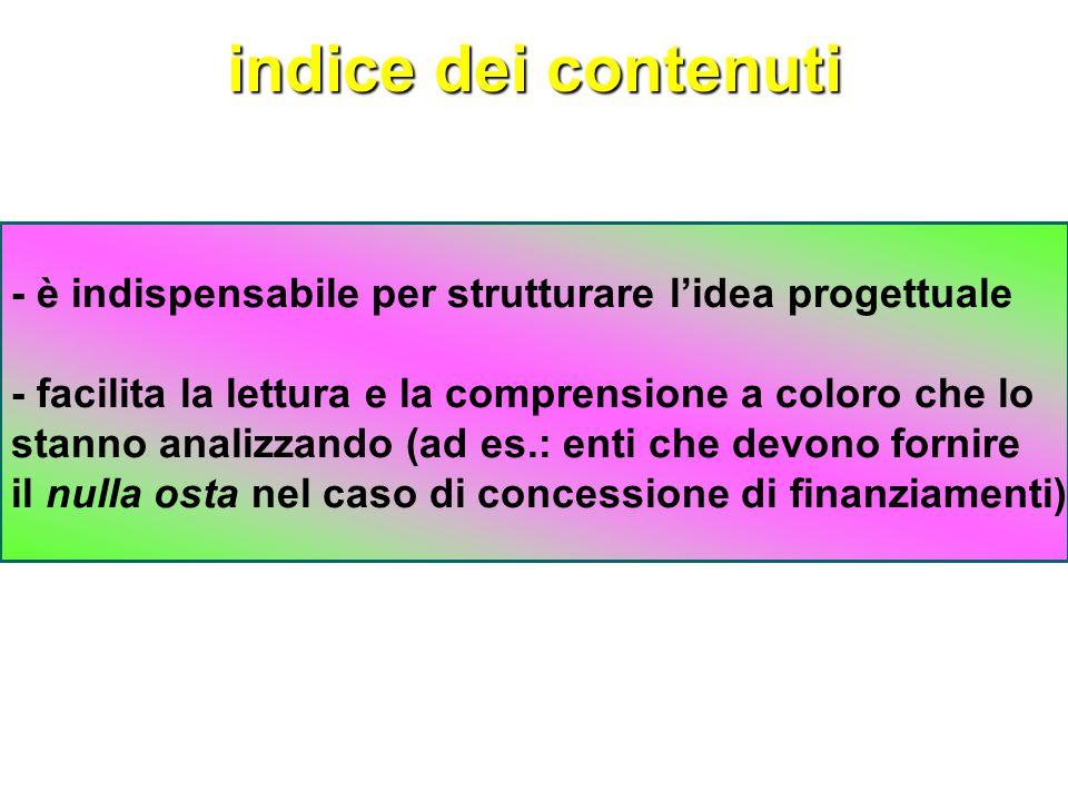 indice dei contenuti - è indispensabile per strutturare l'idea progettuale. - facilita la lettura e la comprensione a coloro che lo.