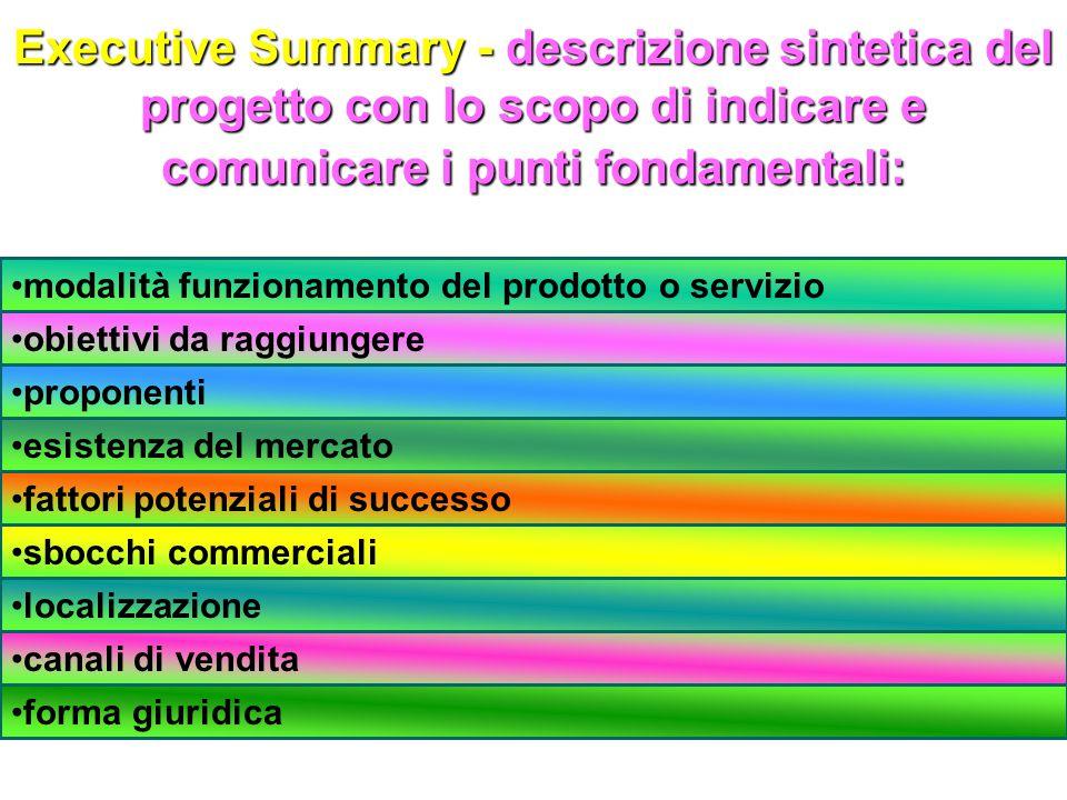 Executive Summary - descrizione sintetica del progetto con lo scopo di indicare e comunicare i punti fondamentali: