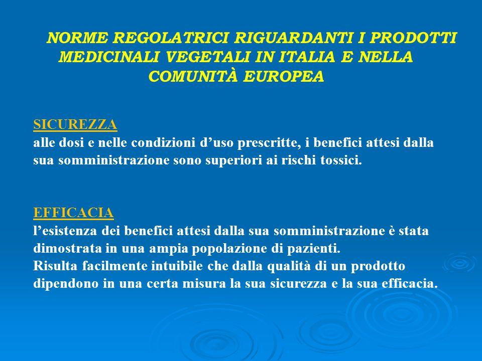 NORME REGOLATRICI RIGUARDANTI I PRODOTTI MEDICINALI VEGETALI IN ITALIA E NELLA COMUNITÀ EUROPEA