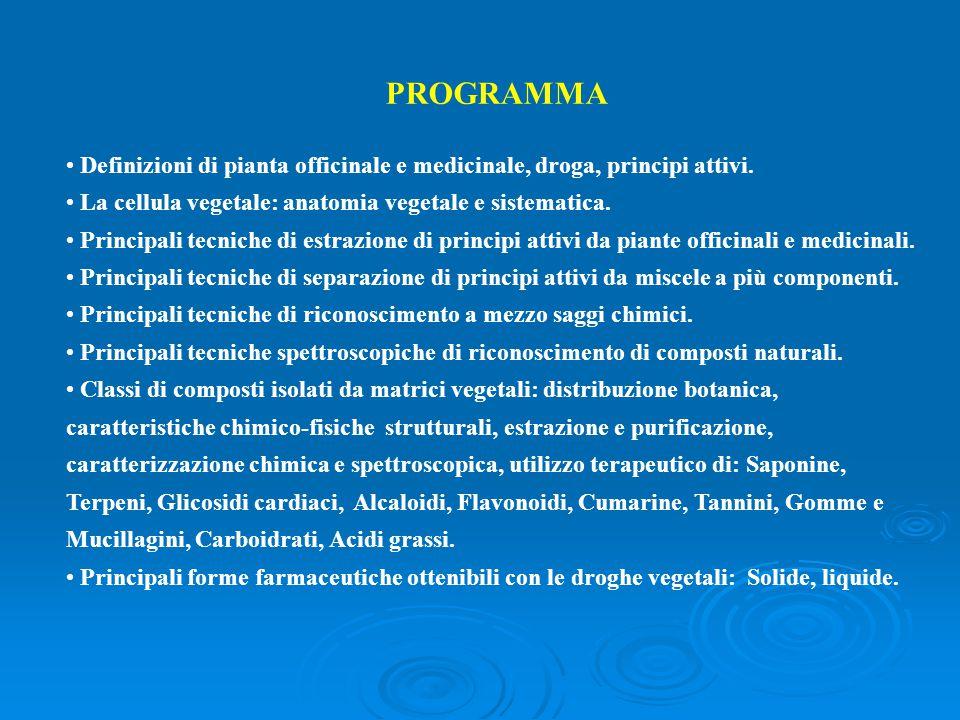 PROGRAMMA Definizioni di pianta officinale e medicinale, droga, principi attivi. La cellula vegetale: anatomia vegetale e sistematica.