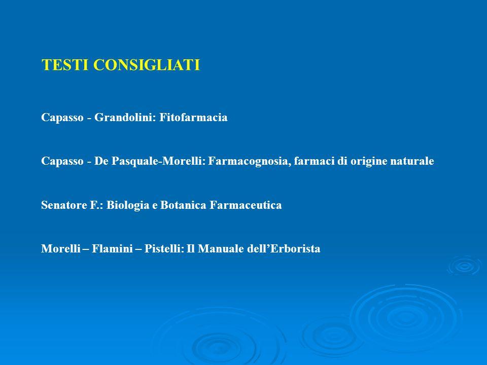 TESTI CONSIGLIATI Capasso - Grandolini: Fitofarmacia