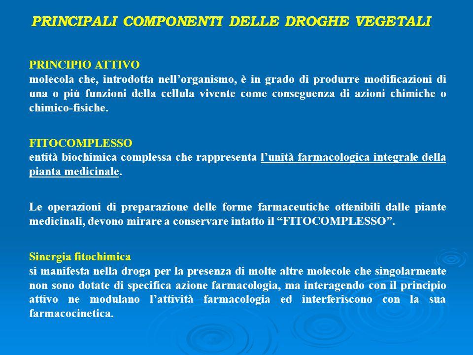 PRINCIPALI COMPONENTI DELLE DROGHE VEGETALI