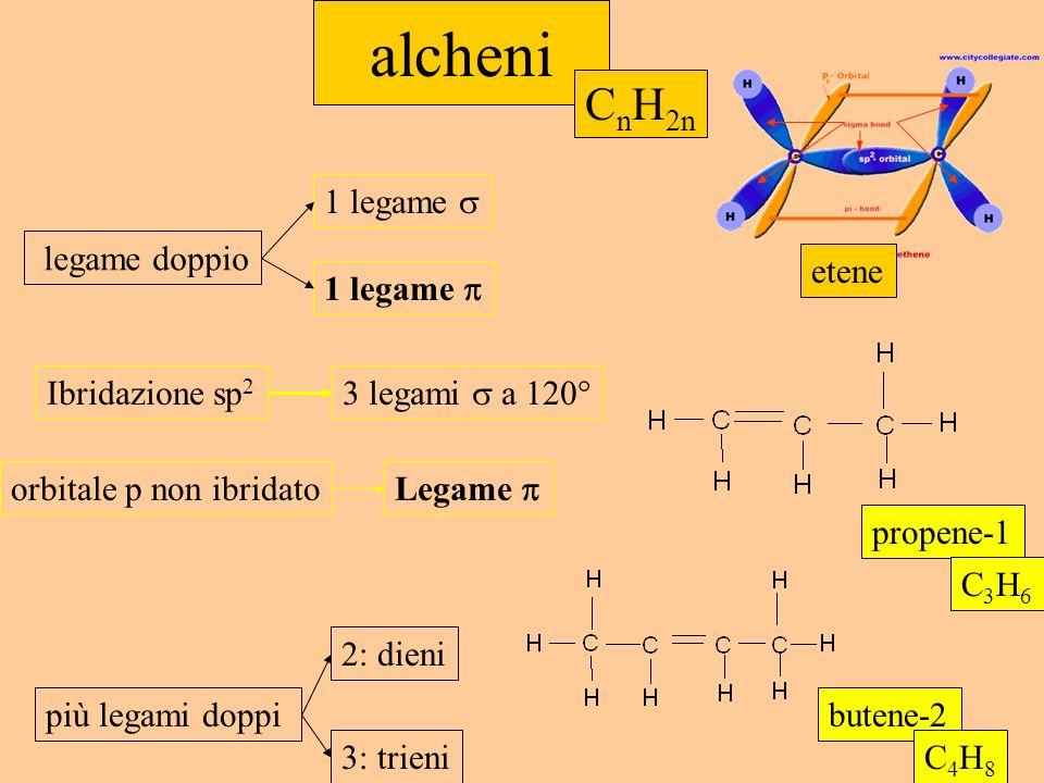 alcheni CnH2n 1 legame  legame doppio etene 1 legame 