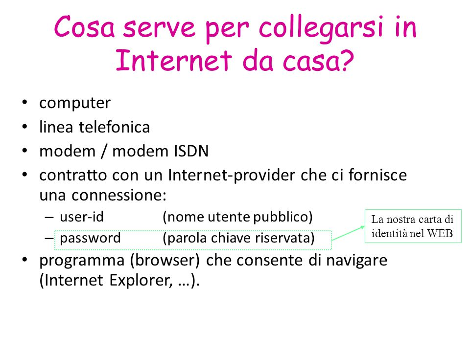 Cosa serve per collegarsi in Internet da casa