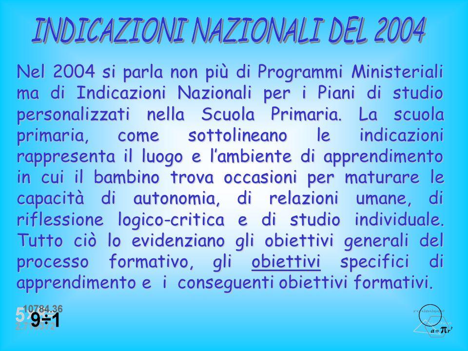 INDICAZIONI NAZIONALI DEL 2004