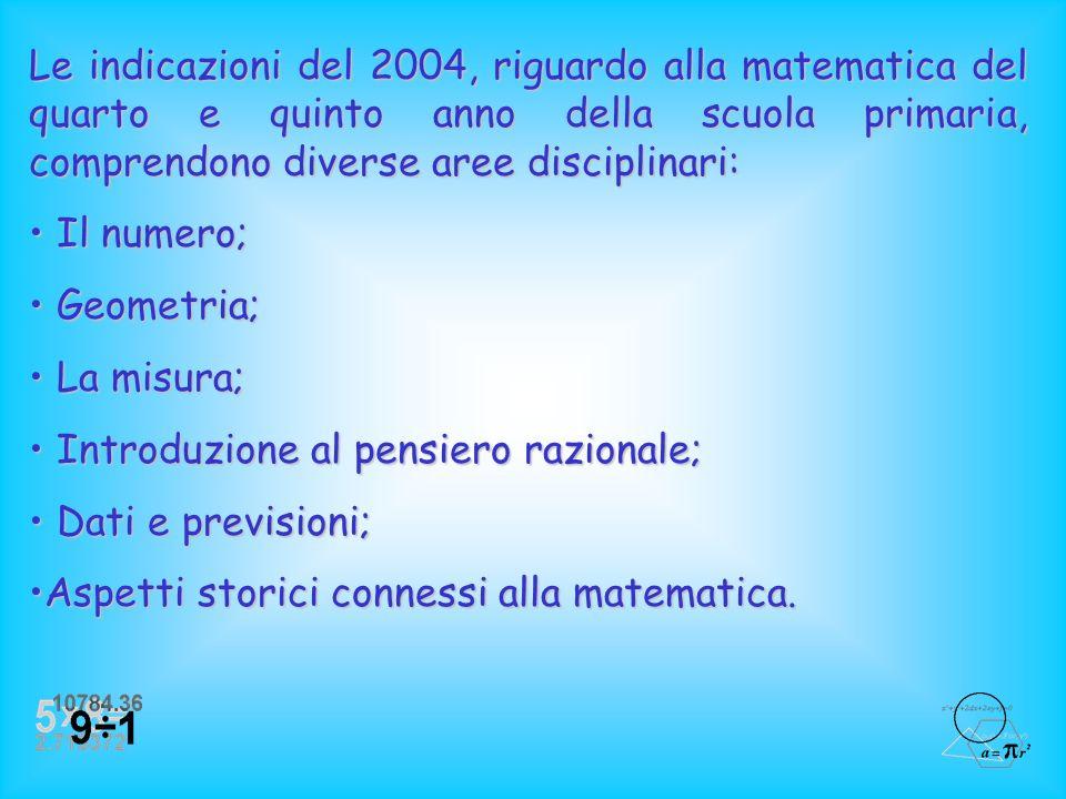 Le indicazioni del 2004, riguardo alla matematica del quarto e quinto anno della scuola primaria, comprendono diverse aree disciplinari: