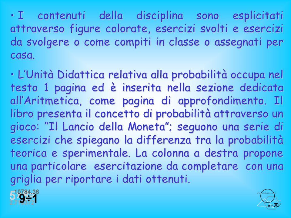 I contenuti della disciplina sono esplicitati attraverso figure colorate, esercizi svolti e esercizi da svolgere o come compiti in classe o assegnati per casa.