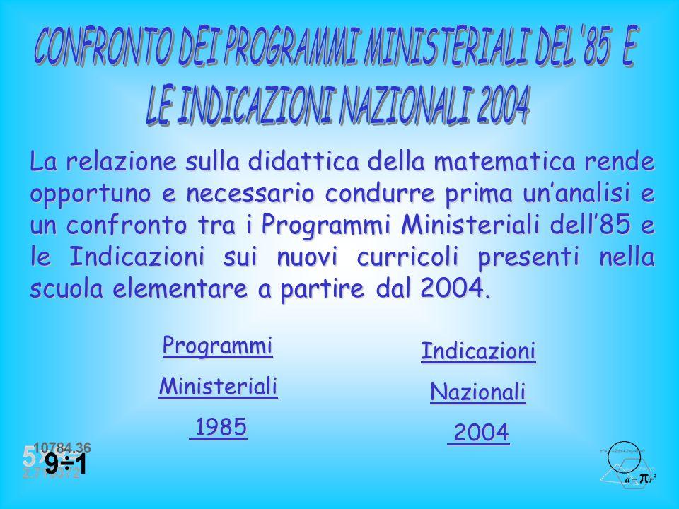 CONFRONTO DEI PROGRAMMI MINISTERIALI DEL 85 E