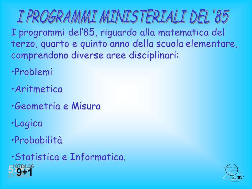 I PROGRAMMI MINISTERIALI DEL 85