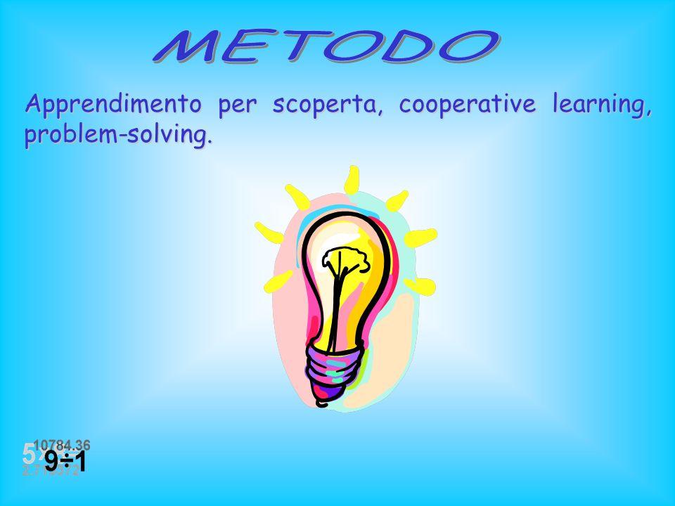METODO Apprendimento per scoperta, cooperative learning, problem-solving.