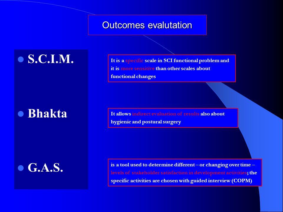 S.C.I.M. Bhakta G.A.S. Outcomes evalutation