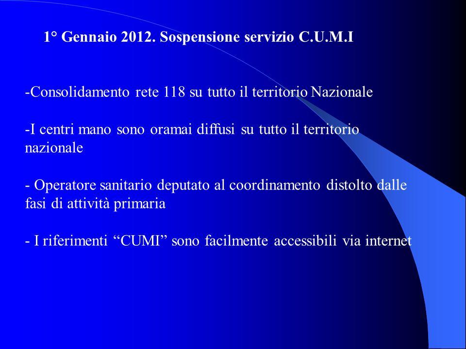 1° Gennaio 2012. Sospensione servizio C.U.M.I