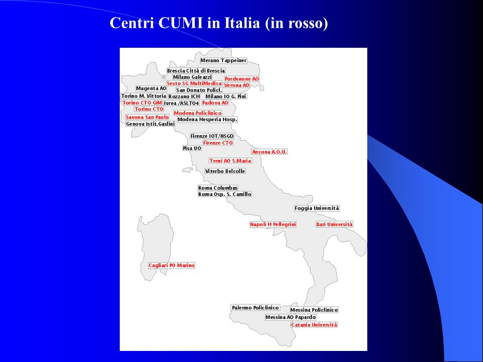 Centri CUMI in Italia (in rosso)