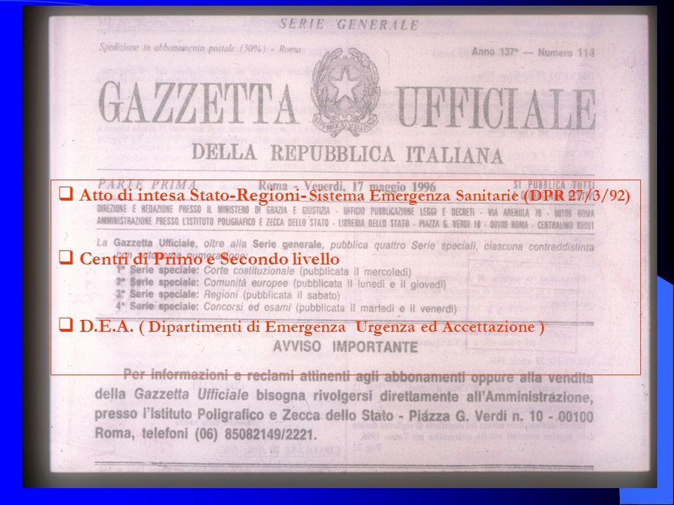 Atto di intesa Stato-Regioni- Sistema Emergenza Sanitarie (DPR 27/3/92)