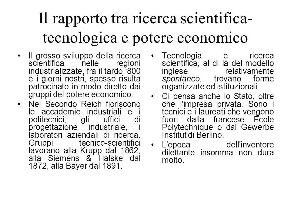 Il rapporto tra ricerca scientifica- tecnologica e potere economico