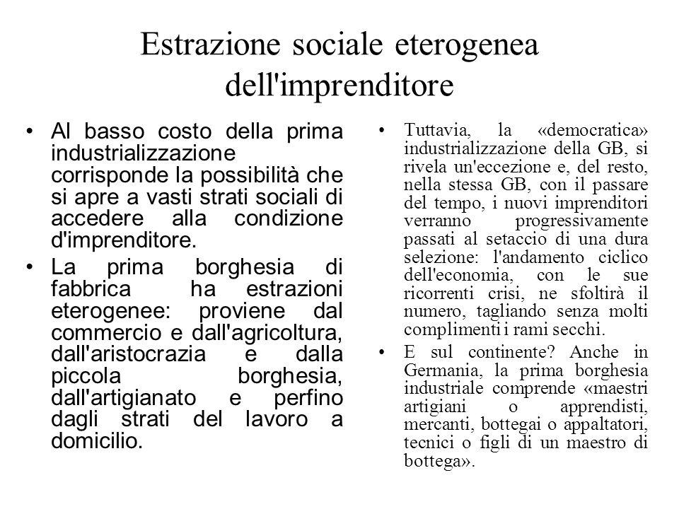 Estrazione sociale eterogenea dell imprenditore