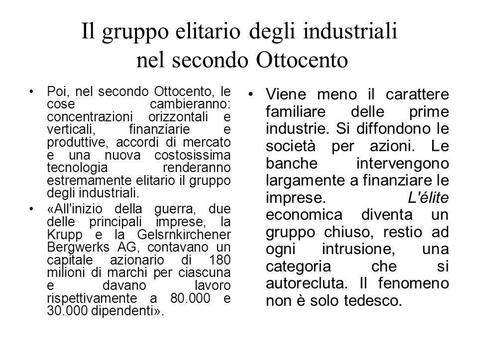 Il gruppo elitario degli industriali nel secondo Ottocento
