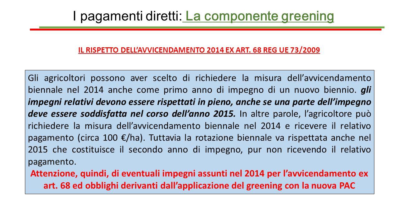 IL RISPETTO DELL'AVVICENDAMENTO 2014 EX ART. 68 REG UE 73/2009