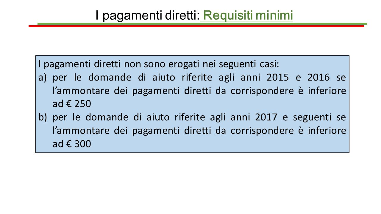 I pagamenti diretti: Requisiti minimi