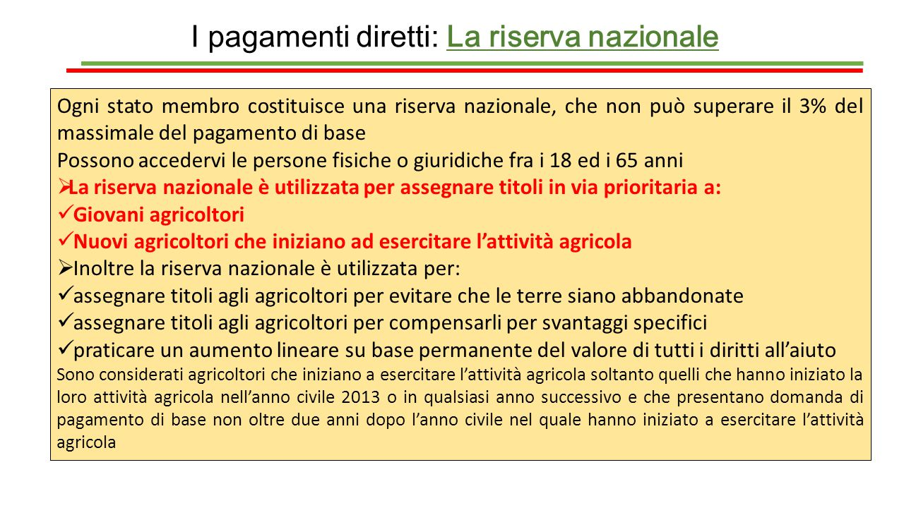 I pagamenti diretti: La riserva nazionale